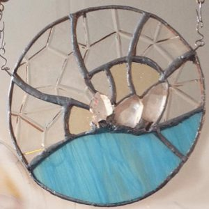 Quartz crystal stained glass mooncatcher