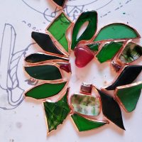 glass holly wreath in progress